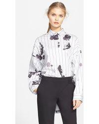 Tibi 'Lily Pad' Oversize Cotton Poplin Shirt - Lyst