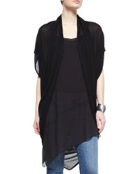 Eileen Fisher Ethereal Short-Sleeve Draped Cardigan - Lyst