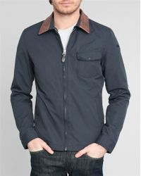 Schott Nyc Pasedena Navy Nylon Brown Leather Collar Jacket - Lyst