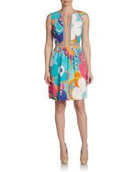 Trina Turk Abstract Floralprint Silk Dress - Lyst