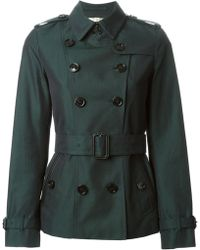 Burberry Double Breasted Belted Jacket - Lyst