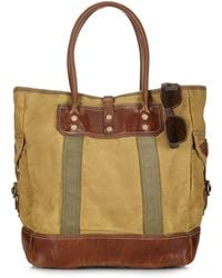 Ralph Lauren Polo Leather-Trimmed Canvas Tote - Lyst