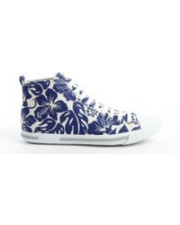 Prada White and Blue Hawaiian Print Canvas High Top Sneakers - Lyst