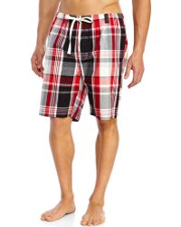 Kenneth Cole Reaction Red & Black Plaid Woven Jam Shorts - Lyst
