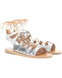 Ancient Greek Sandals Antigone Lace-Up Sandals silver - Lyst