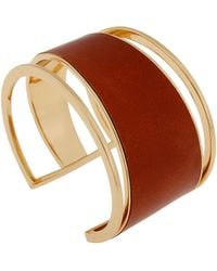 Rachel Zoe Tan Leather And 12K Gold Plated Cuff Bracelet red - Lyst
