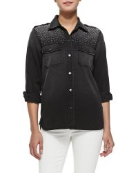 Current/Elliott T The Perfect Stud-shoulder Shirt - Lyst