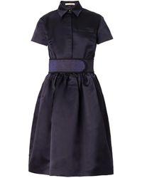 Christopher Kane Belted Duchess-Satin Dress blue - Lyst