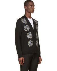 Alexander McQueen Black Embroidered Flower Cardigan - Lyst