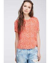 Forever 21 Abstract-Patterned Blouse - Lyst