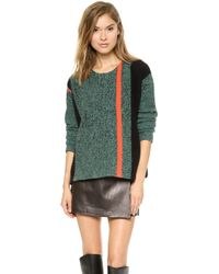 T By Alexander Wang Boiled Tweed Lambswool Boxy Pullover  Shadow and Infrared - Lyst