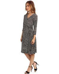 Maggy London Threequarter Sleeve Printed Side Twist Mock Wrap Dress - Lyst