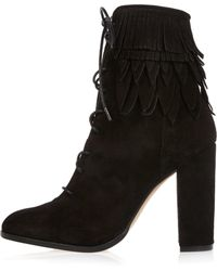 River Island | Black Suede Lace-up Fringed Heeled Boots | Lyst