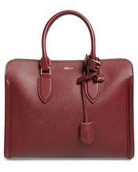 Alexander McQueen 'heroine' Open Leather Tote - Burgundy - Purple