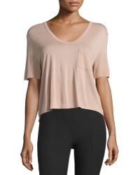 T By Alexander Wang   Classic Cropped Tee W/ Pocket   Lyst