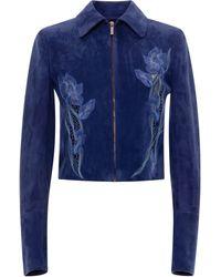 Blumarine - Embroidered Goat Leather Jacket - Lyst