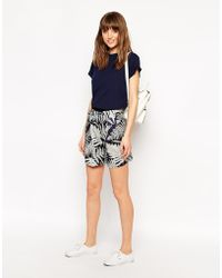 Le Mont St Michel - Silk Mix Shorts In Tree Print - Lyst