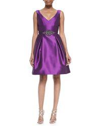 Theia Sleeveless Beaded-waist Party Dress - Lyst