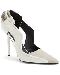 L.A.M.B. 'Enforce' Leather & Suede Pointy Toe Pump white - Lyst