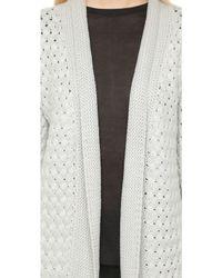 La Fee Verte - Open Drape Cardigan - Light Grey - Lyst