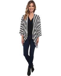 Steve Madden Vertical Stripe Jersey Shirt Tail Topper - Black