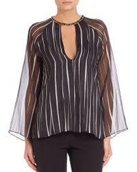 Halston Heritage   Sheer Kimono Sleeve Stripe Top   Lyst