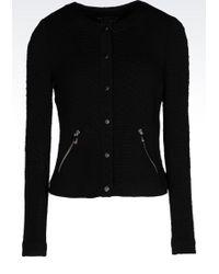 Armani Jeans Crew Neck Jacket In Knit Effect Jersey - Lyst