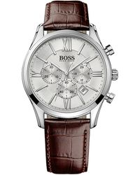 Hugo Boss Mens Boss Black Ambassador Stainless Steel Brown Leather Strap Watch - Lyst