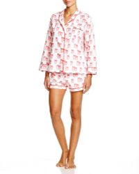 Marigot Collection Marigot Tomato Owl Short Pajama Set - Red