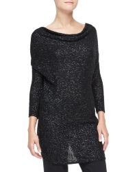 Donna Karan New York Sequined Cashmere Drape-front Tunic - Lyst