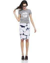 Cynthia Rowley Bonded Slim Skirt white - Lyst