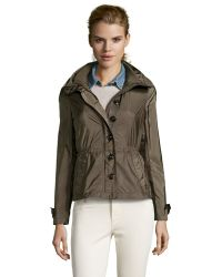Burberry Olive Green Nylon 'Becksmarsh' Roll-Up Sleeve Jacket - Lyst