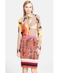 Missoni Abstract Print Long Sleeve Silk Blouse - Lyst