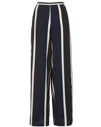 Topshop Navy Stripe Wide Leg Trousers - Lyst