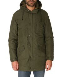 Celio Club Long Khaki Hooded Parka With Removable Lining Ohull - Lyst
