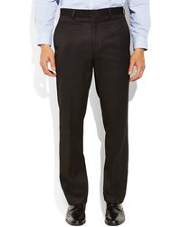 Tommy Hilfiger Black Solid Flat Front Pants - Lyst