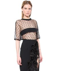 Emanuel Ungaro Polka Dot Tulle And Cady Top - Lyst