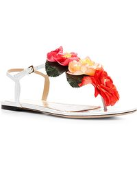 Charlotte Olympia Rosario Floral-Embellished Leather Sandals - Lyst