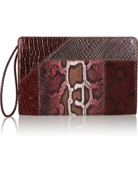 Stella McCartney Glitter-finished Faux Python and Faux Crocodile Clutch - Lyst