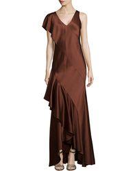 Jason Wu Silk Slip Gown With Back Cascade - Lyst