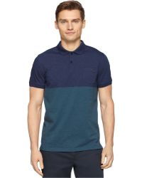Calvin Klein Road Map Blocked Jersey Polo blue - Lyst