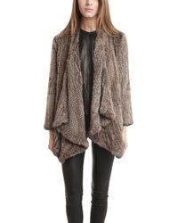 H Brand Ashleigh Rabbit Fur Jacket - Brown