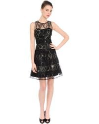 Kay Unger Sequined Lace Fit and Flare Dress - Lyst