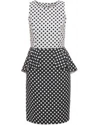 Helene Berman Polka Dot Peplum Dress - Lyst