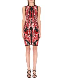 Roberto Cavalli Sleeveless Jacquardknit Dress Red - Lyst