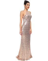 Badgley Mischka Sequin Halter Gown - Lyst