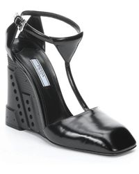 Prada Black Leather T-strap Molded Wedges - Lyst