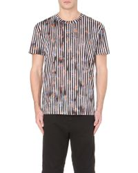 McQ by Alexander McQueen Striped And Floral-Print Cotton T-Shirt - For Men - Lyst