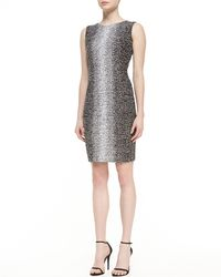 St. John Ombre Eyelash Knit Jewel Neck Sheath Dress - Lyst