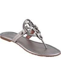 Tory Burch Miller Thong Sandal Pewter Leather - Lyst